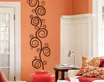 Tall Swirls and Vines - Vinyl Wall Decals - Your choice of color -