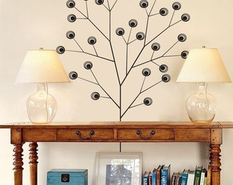 Peacock Tree - Stark Branches and Circle Leaves - Wall Decals - Your Choice of Color