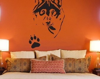 Wolf Husky with Pawprint - Wall Decals - Your Choice of Color -