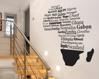 Giant Africa Map with Countries - Wall Decals - Mural - Your Choice of Color