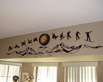 Snowboarding over the Mountains - Series - Wall Decals - Your Choice of Color
