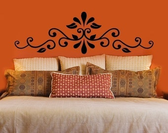 Swirling Henna Headboard Decal - Wall Decals - Your Choice of Color -
