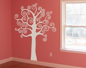Big Tree with Swirly Branches - Wall Decal - Your Choice of Color -