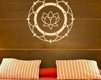 Lotus Blossom - Mehndi - Henna - Wall Decal - Your Choice of Color -