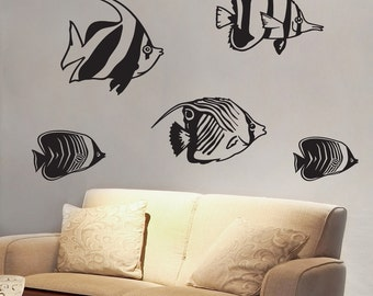 Swimming Fishies - Set of Five Angel Fish - Vinyl Wall Decals - Your Choice of Color