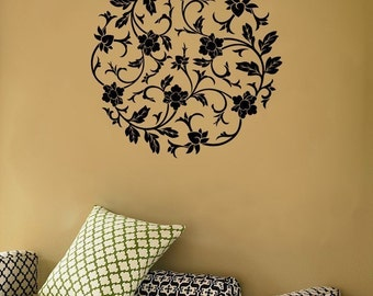 Circular Flowers and Vines - Wall Vinyl Decal - Your Choice of Color