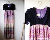 SALE - WAS 50 -  70s Purple Velvet & Psychedelic Geometric Print Maxi Party Dress - S