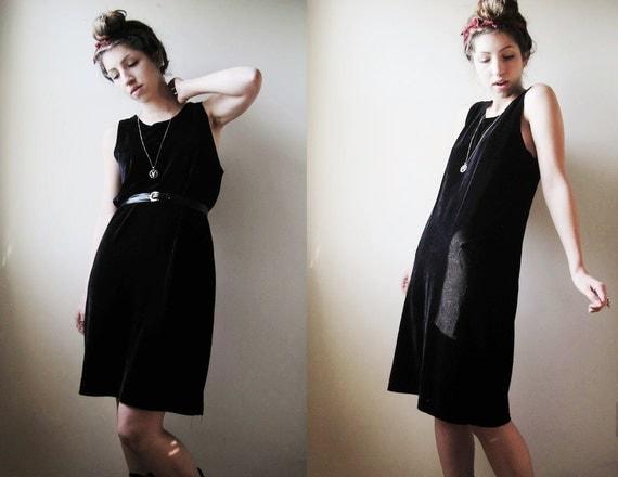 90s Velvet Black Basic Tank Dress - M