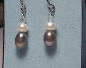 Grey and white freshwater pearl earrings.