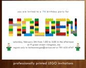 Custom Birthday Party Invitation - Lego (Printed)