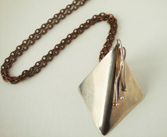 Vintage Look Copper Necklace with Sterling Silver Square Pendant - 3D - Urban - City - Hard