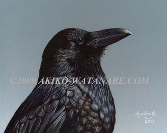 Open Edition Print of Crow Raven Wildlife Painting (8x10)