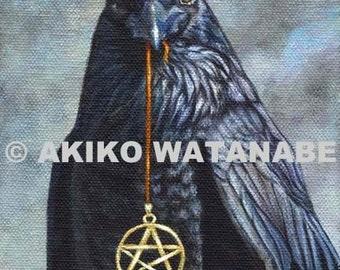 Akiko O/E Print Pentacle Raven Crow Bird Painting (5x7)