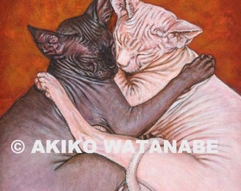 """Akiko Open Edition Print of Two Sphynx Cats Sleeping Together 6""""x6"""""""