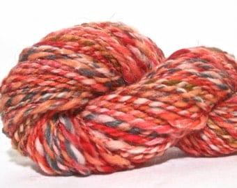 Handspun Yarn - Super Bulky Wool, Soysilk, Angelina - 80 yards in Peach Frizzle