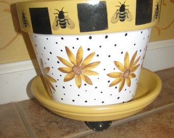 Flower Pot ...Bee and Flowers