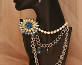 Chain and Pearl Necklaces with Vintage Weiss Flower Brooch.Multi Strands