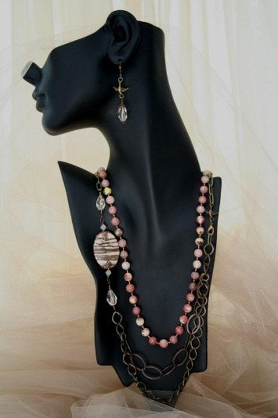 Vintaj Brass Gemstone Necklace Set
