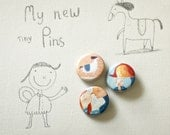 Tiny illustrated pins set of 3
