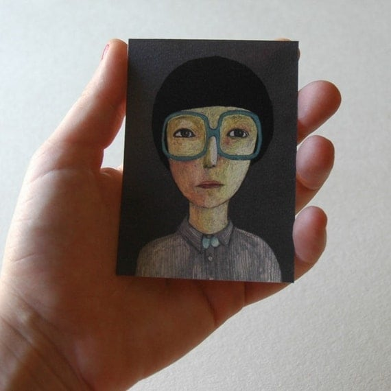 9 tiny pastels portraits