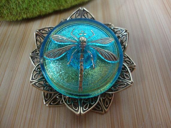 Lotus Glass Dragonfly Pin/Pendant