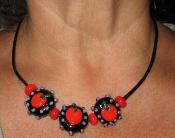 Necklace  Pumpkin Patch Flamework Glass