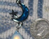 Blue  Paua Shell Moon  And Star   With Sea Opal Dangle Pendant  Necklace
