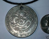 Detailed Old Vintage Lucky  Chinese Dragon Coin Pendant Necklace