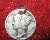 Genuine  Old Mercury Liberty  Dime Coin Pendant  Necklace