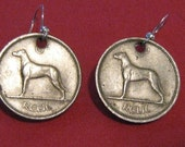 Authentic  Old  Irish  Celtic  Wolfhound Dog  Coin Earrings