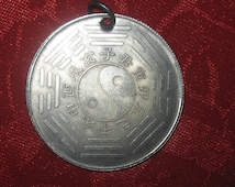 Unusual Old Chinese Ying Yang Year of the Dragon Zodiac Coin Necklace Pendant