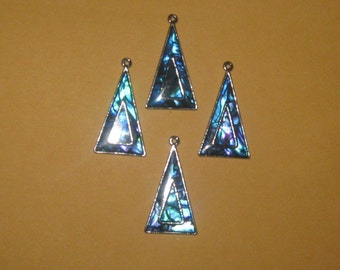 WHOLESALE LOT of 4  Beautiful Triangle Paua Abalone Shell Component Pendants