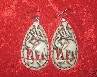 Beautiful Large Carved  Bone Elephant  Earrings