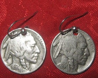 Authentic Vintage Indian Native American Buffalo Nickel Coin Earrings