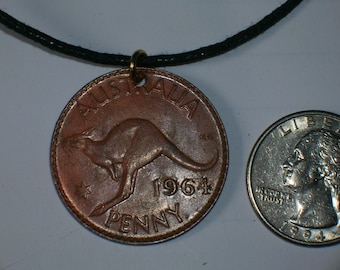 Wholesale Lot Of  6  Vintage  Austrailian Rustic Kangaroo Penny Coin Necklaces