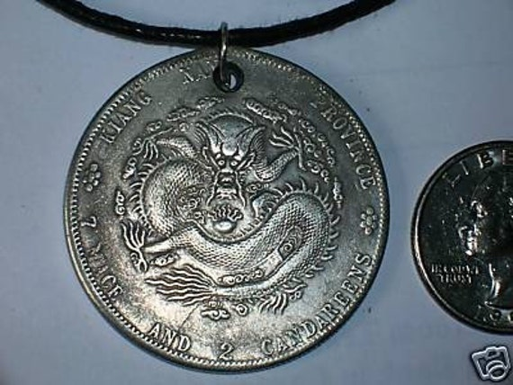 OLD LUCKY CHINESE DRAGON COIN PENDANT NECKLACE