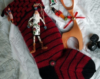 Chimney Top Hand Knit Christmas Stocking Knitting Pattern ONLINE DOWNLOAD