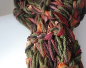 SALE Autumn Leaves Scarf, Long, Muddy River Girl Scarves, Hand Knitted, Hand Made