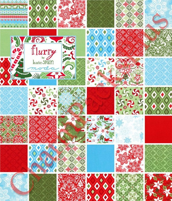 Christmas Quilt Patterns Moda : FLURRY Moda Charm Pack Christmas Kate Spain Quilt