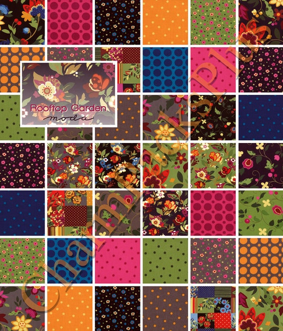 ROOFTOP GARDEN Moda Charm Pack - 5-inch Quilt Fabric Squares - 32430PP