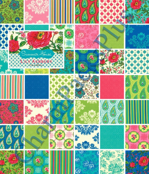 Summer House Moda Charm Pack 5 Quilt Fabric Squares