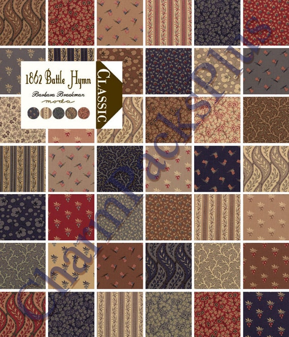 1862 Battle Hymm Moda Charm Pack 5 Inch Quilt Fabric Squares