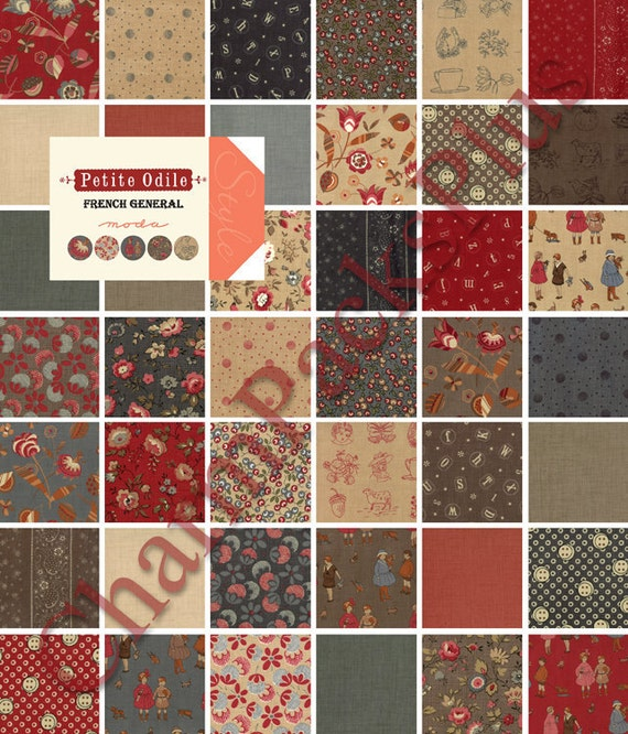 PETITE ODILE by French General  - Moda Charm Pack - 5 inch Quilt Fabric Squares - 13610pp