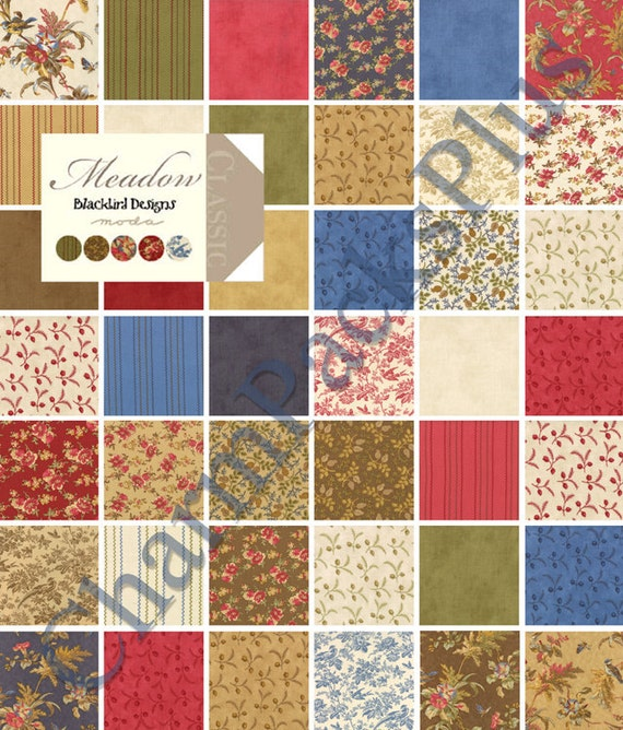 MEADOW - Moda Charm Pack - Five Inch Quilt Fabric Squares Blackbird Designs