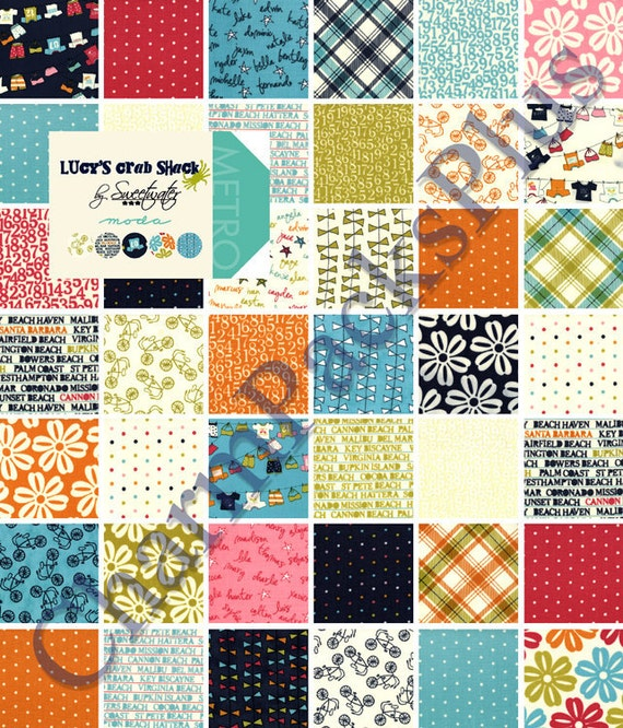 LUCYS CRAB SHACK by Sweetwater - Moda Charm Pack - 5-inch Quilt Fabric Squares