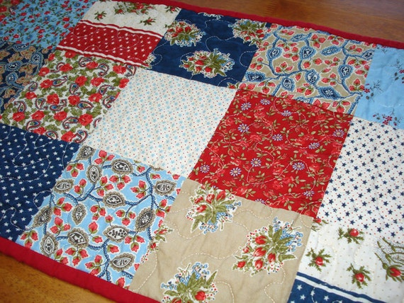 Red White and Blue Quilted Table Runner - American Banner Rose Fabric by Moda