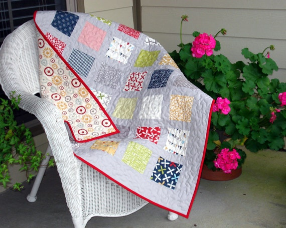 Baby Quilt for Boy or Girl made with Moda Reunion Fabric