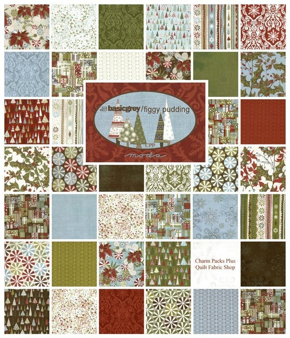 Moda Figgy Pudding Charm Pack Quilt Fabric Squares