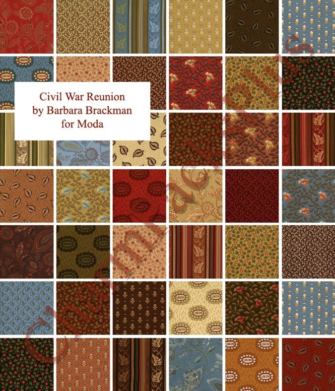 Civil War Reunion Moda Charm Pack Quilt Fabric Squares