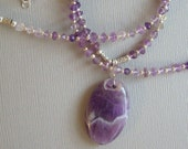 Amethyst Pendant with Faceted Amethyst Bead and Sterling Necklace